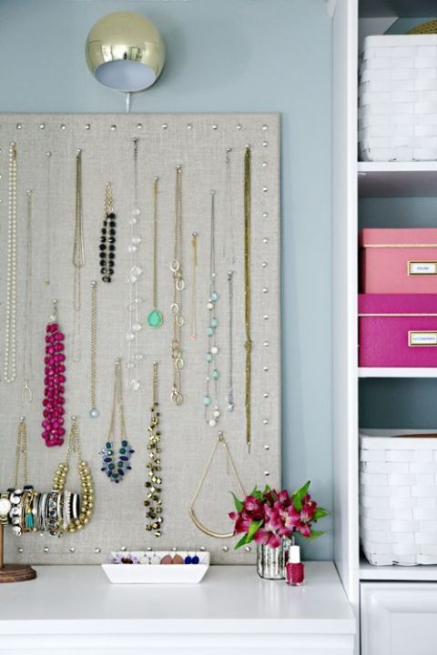 Use a cork board to hang up all your fave jewelry. Cover the board in fabric that matches your room for a chic way to keep your jewelry untangled. Find this idea on Pinterest.