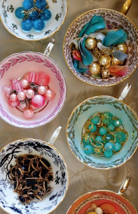 Find pretty tea cups at second-hand stores and on Etsy and use to display your jewelry on your dresser or vanity. Find this idea on Pinterest.