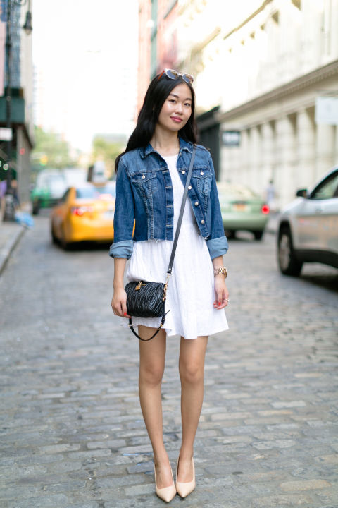 """My back to school style consists of casual layering over my favorite summer dresses with a pair of really comfortable nude heels.""  - Lucy Siyu Liu; Senior; Hunter College; New York, NY"
