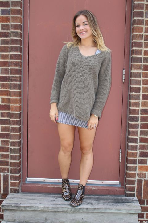 """I love mixing things that don't traditionally go together, whether that's patterns or even just combining daywear with nightwear. Oversized sweaters are always my go-to during the fall. They're a great way to be comfy and still pull off a chic look."" - Holly Reimer; Junior; University of Iowa; Iowa City, IA"
