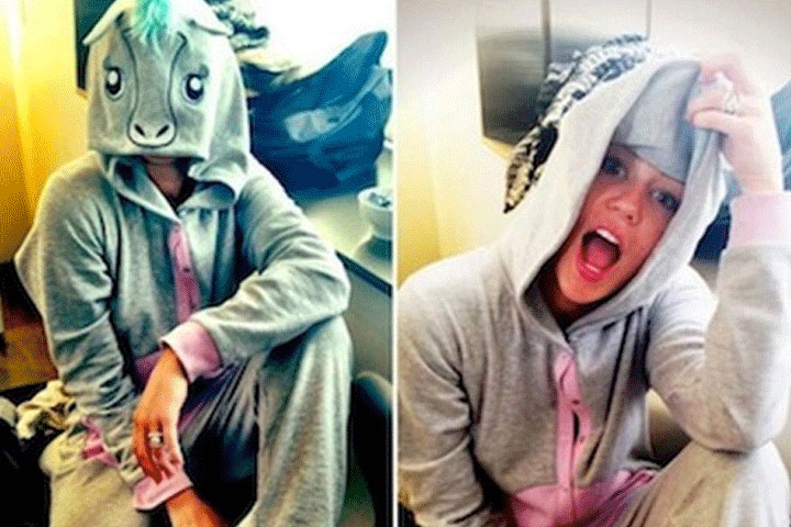 Miley loves her onesies, and the quirkier the better, like this adorable unicorn one-piece.