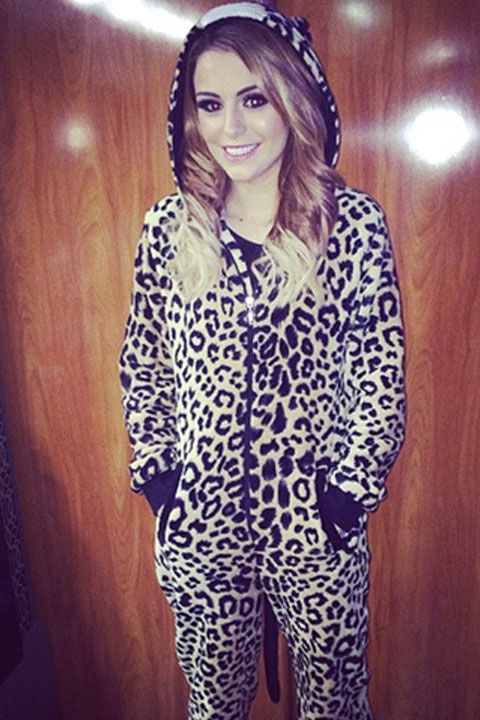 The singer's fuzzy leopard onesie is purrfect for lounging around on weekends.