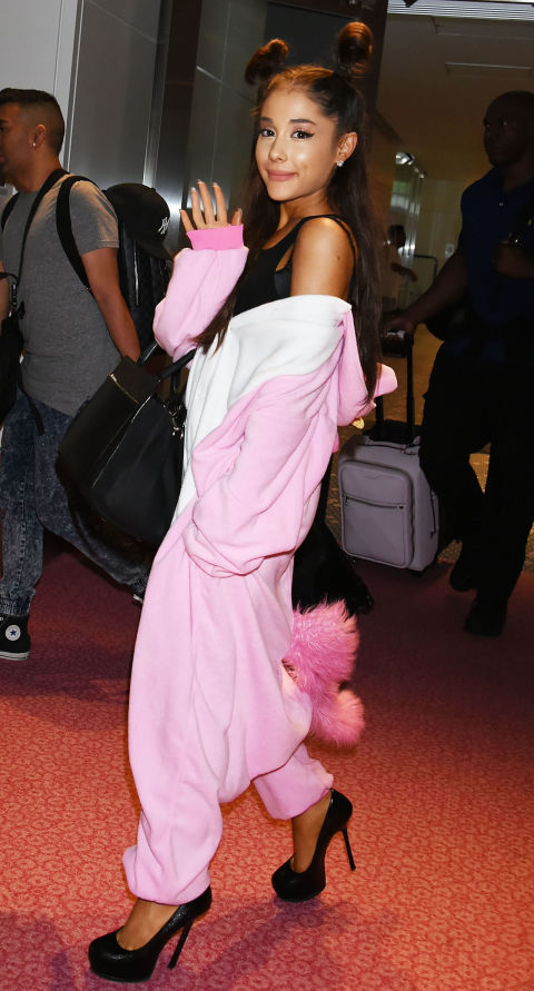 Another celeb who loves the unicorn onesie, Ari glammed her pink one up with black stilettos.