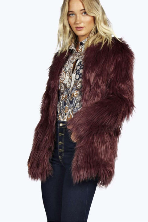 Maroon Fur Coat