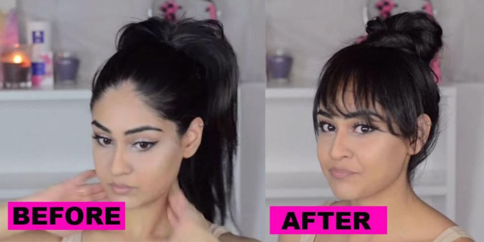 Brilliant Get Kendall Jenner39S Faux Bangs With This Genius Hair Tutorial Short Hairstyles Gunalazisus