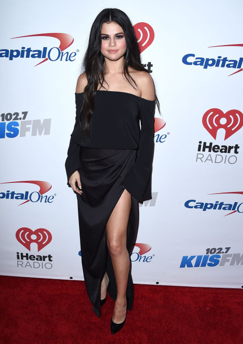 Selena went for laid-back but still flirty in an off-the-shoulder gown at the 102.7 KISS FM Jingle Ball.