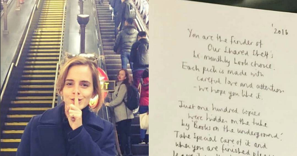 Emma Watson Is Leaving Secret Notes In Books On the London Tube ...