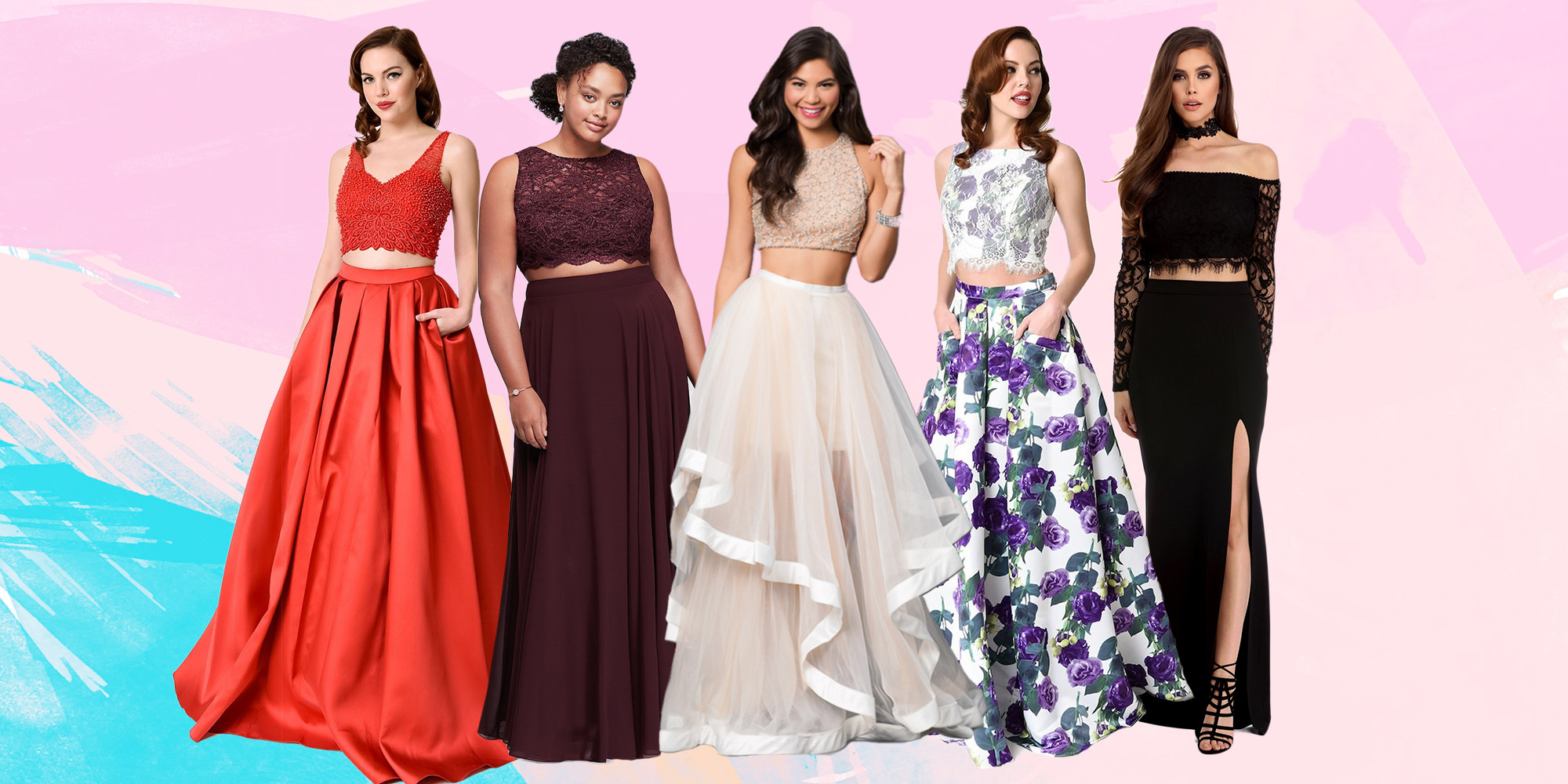 19 Best Two Piece Prom Dresses Of 2017 Crop Top Prom Dresses