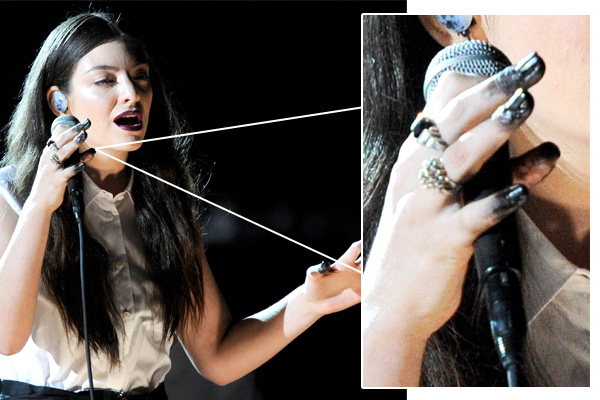 Lorde Dip Dyed Grammy NailsLorde 2014 Grammys Manicure