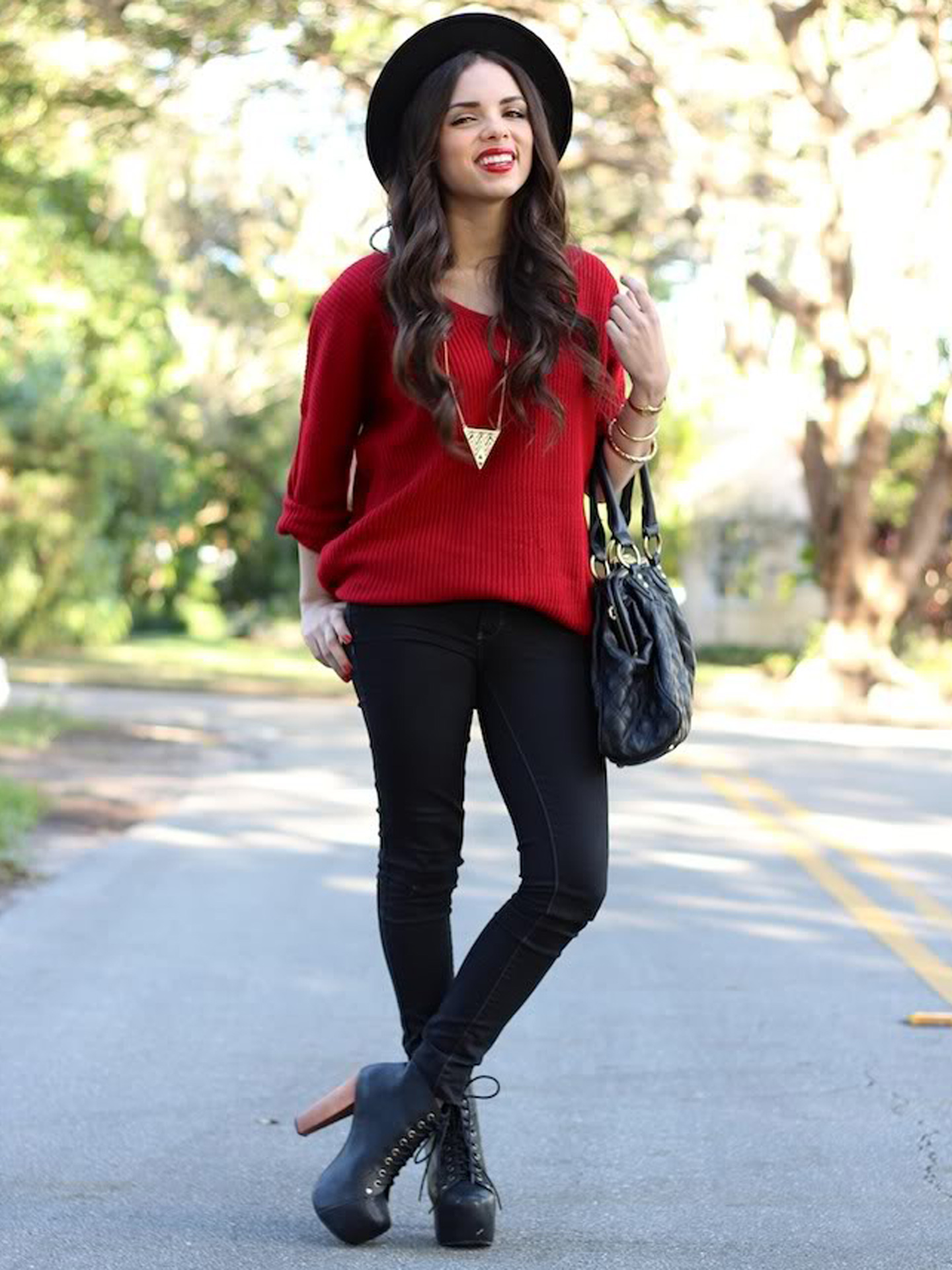 Oversized Red Sweater - Holiday Outfit Ideas