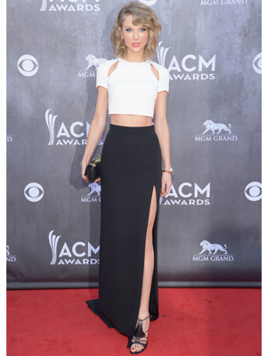 Taylor Swift 2014 ACM White Crop Top Black Skirt - Taylor Swift ...