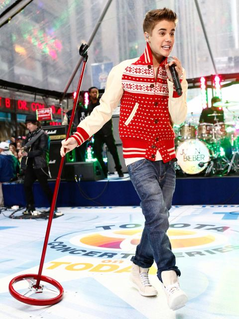 This pic may be from Justin's 2011 Today Show gig, but it's too cute not to share! The Biebs put his own stylish spin on fair isle with this adorbs fair isle varsity jacket.
