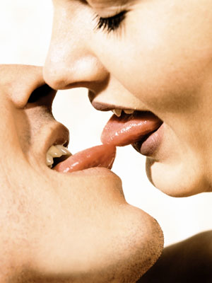 Kissing with tongues tips