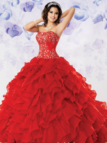 Autumn Colored Quince Dresses - Red, Orange, And Gold Quinceanera ...