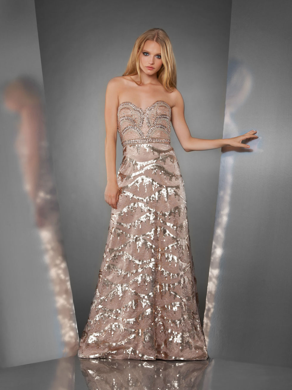 Gold Shimmer Dress With Sleeves