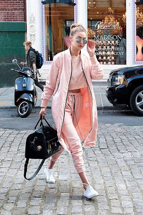 Gigi makes head-to-toe sweats look super chic thanks some killer accessories.